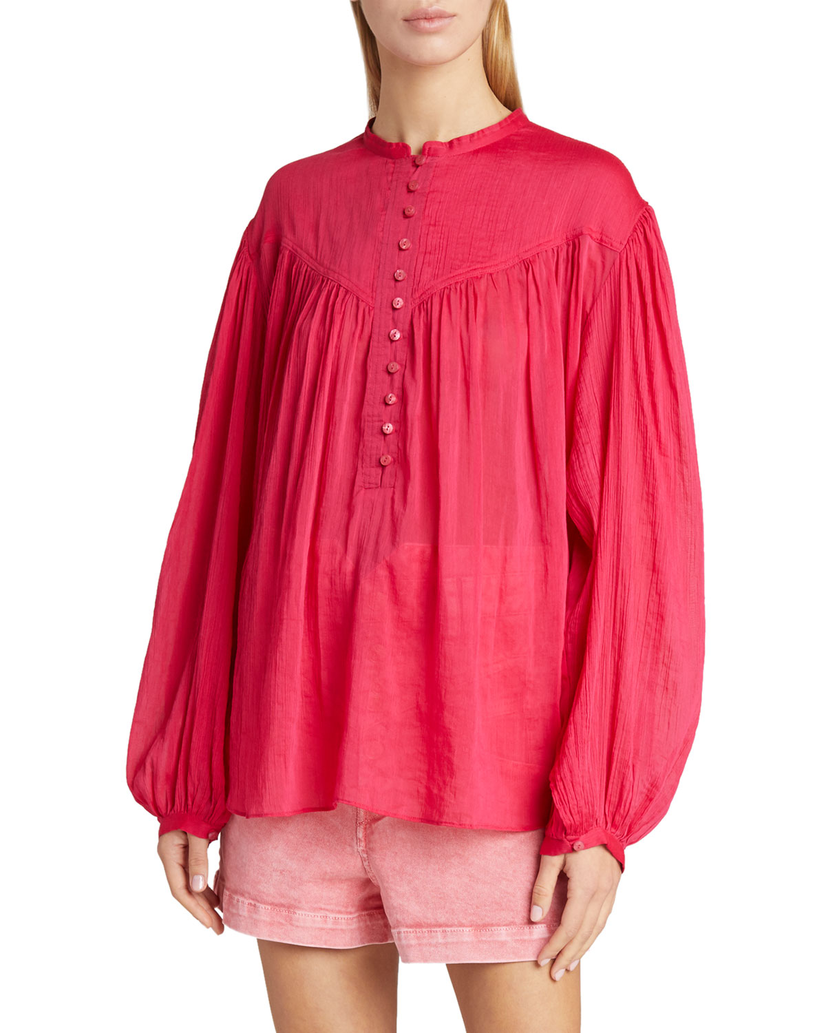 Isabel Marant Cottons BALLOON-SLEEVE COTTON/SILK BUTTON-FRONT TOP
