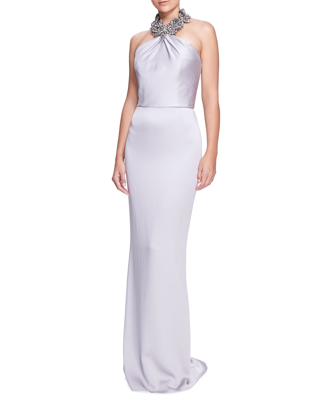 Beaded Halter-Neck Column Gown