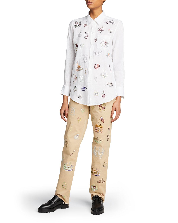 19th Century Sampler Linen Shirt