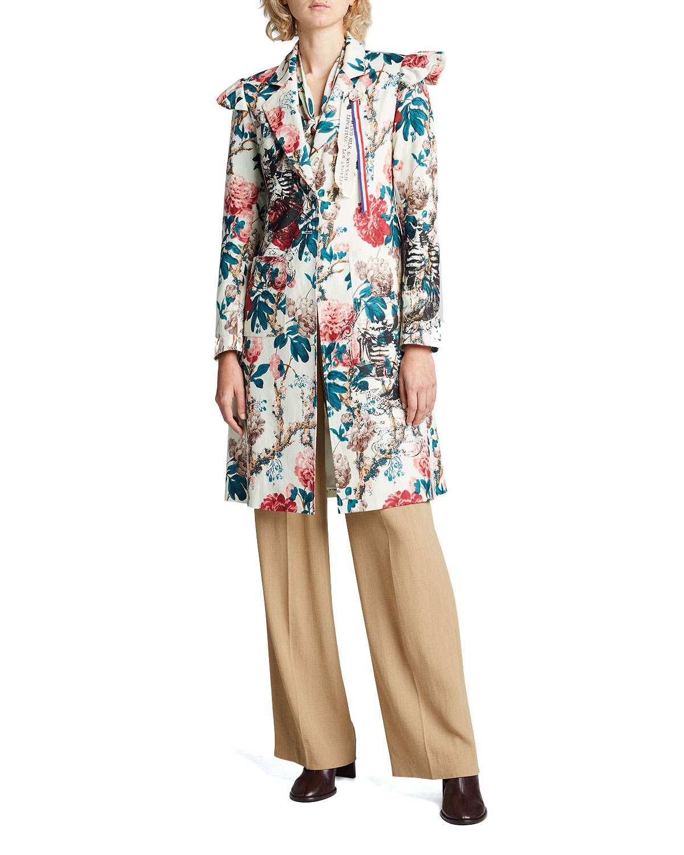 Kandi Floral Ruffle-Cap Coat
