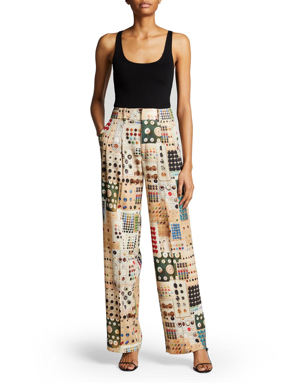 Button Card Shoppe Printed Straight-Leg Pants