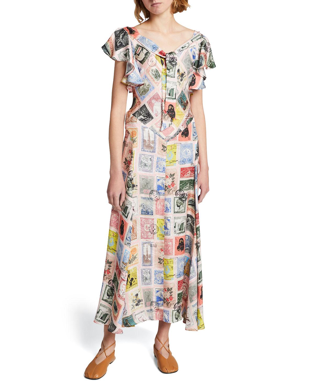 Sending Our Love Ruffle-Sleeve Silk Dress