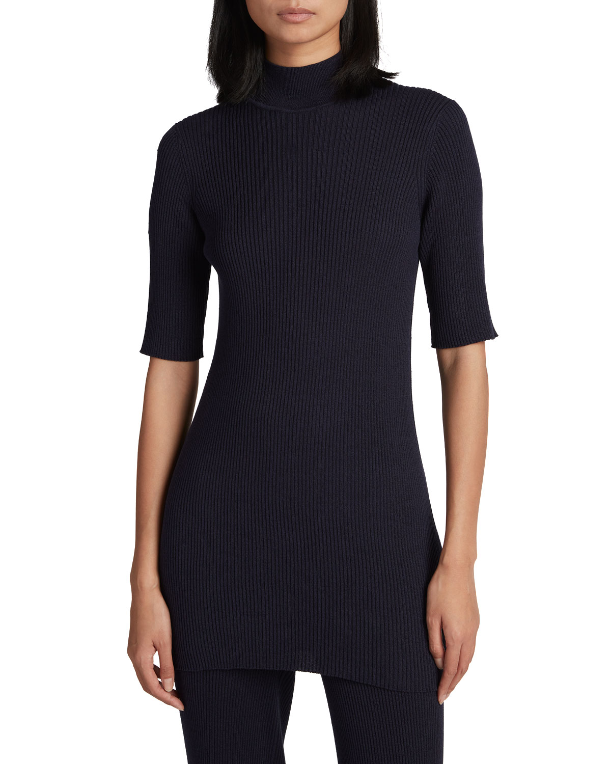 The Row CASSIOPEA RIB-KNIT MOCK-NECK TOP