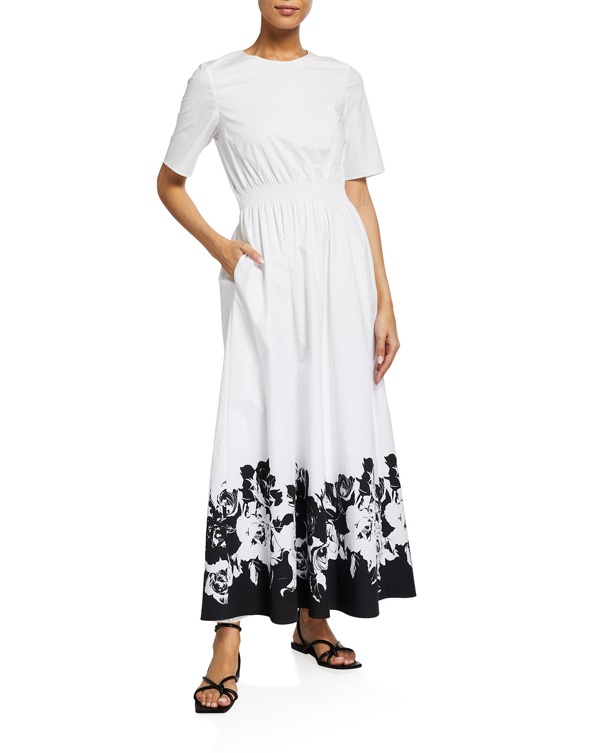 Adam Lippes Clothing SMOCKED-WAIST PRINTED-HEM MAXI DRESS