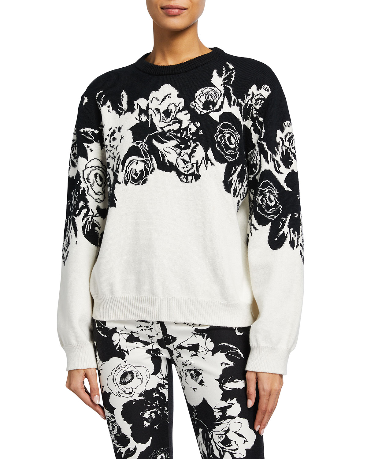 Adam Lippes INTARSIA FLORAL OVERSIZED COTTON SWEATER