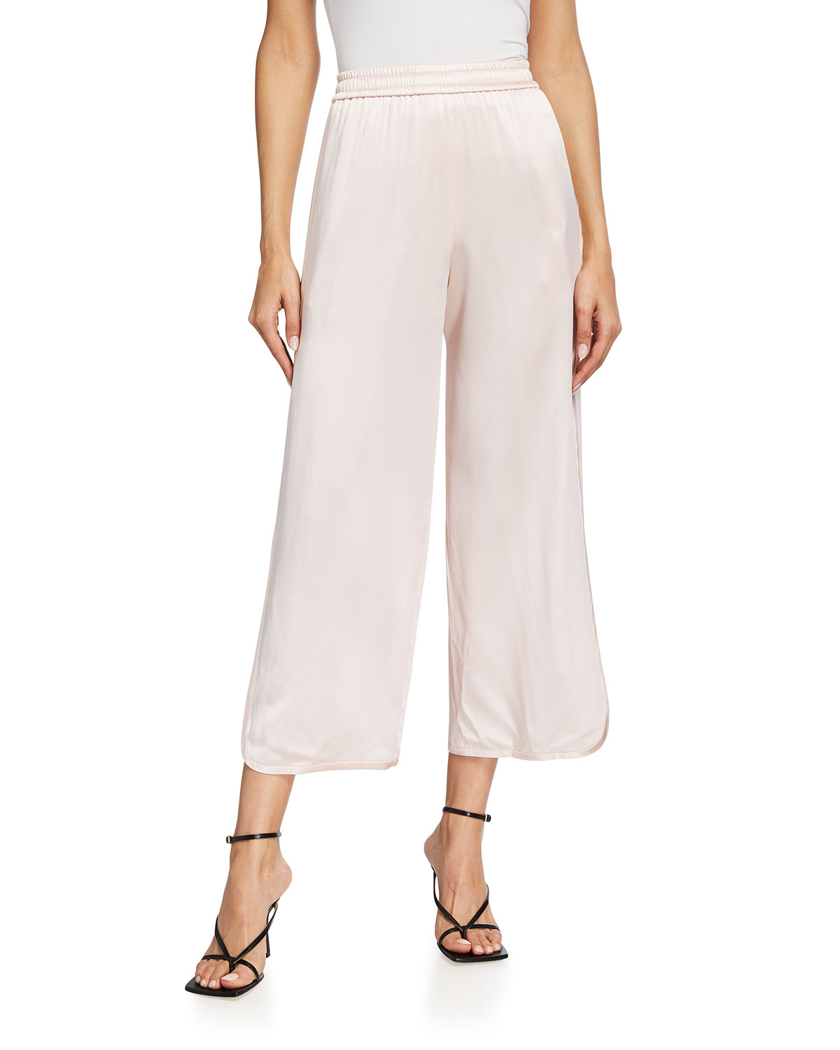 Silk Cropped Track Pants