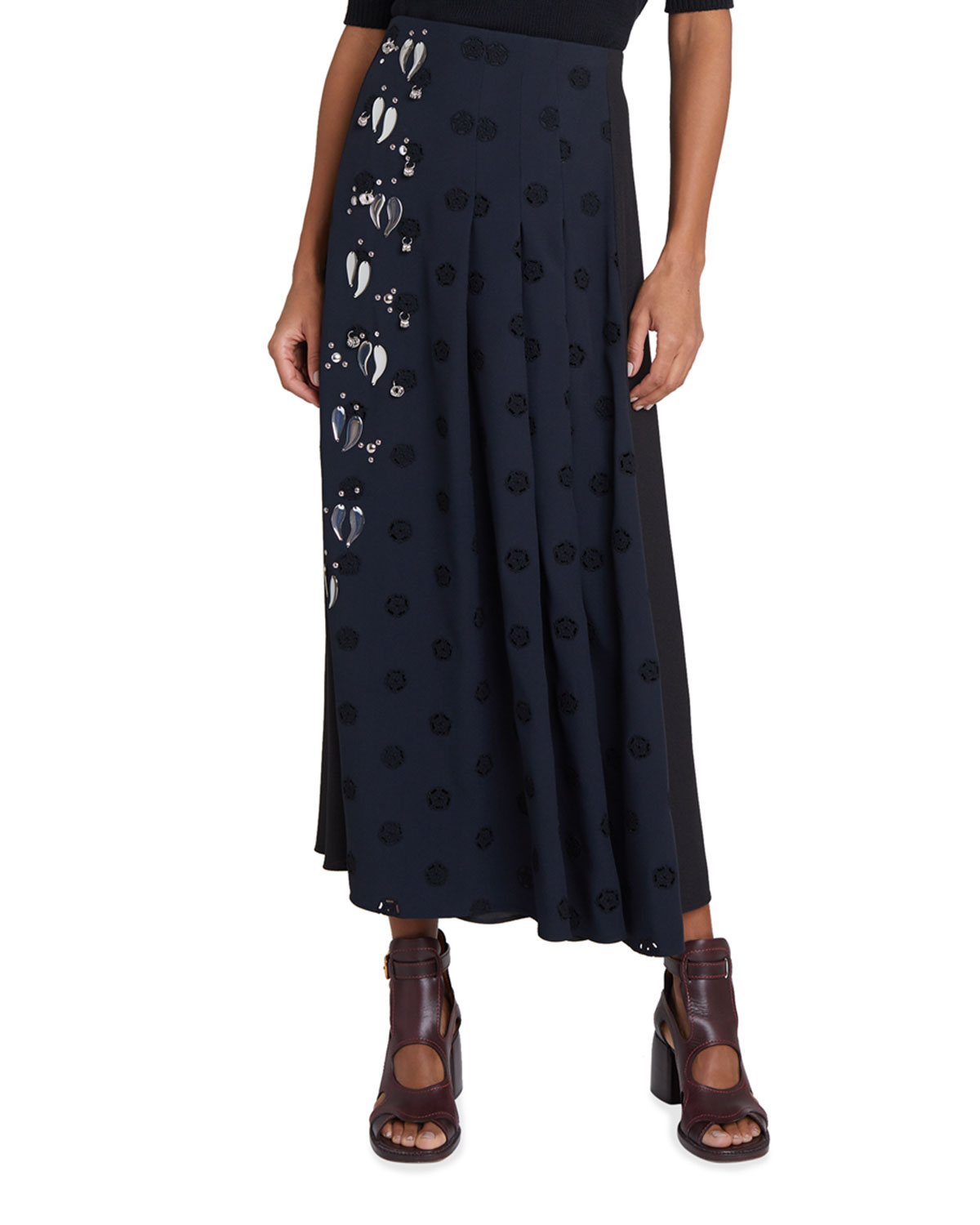 Chloé ELIE JEWELED DOT FLOWER EYELET MIDI SKIRT