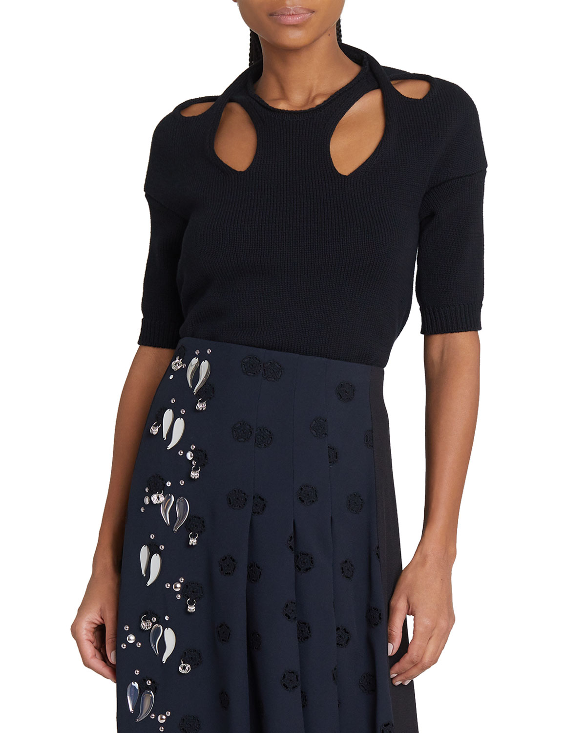 Chloé Cottons TWISTED-NECK CUTOUT KNIT SWEATER