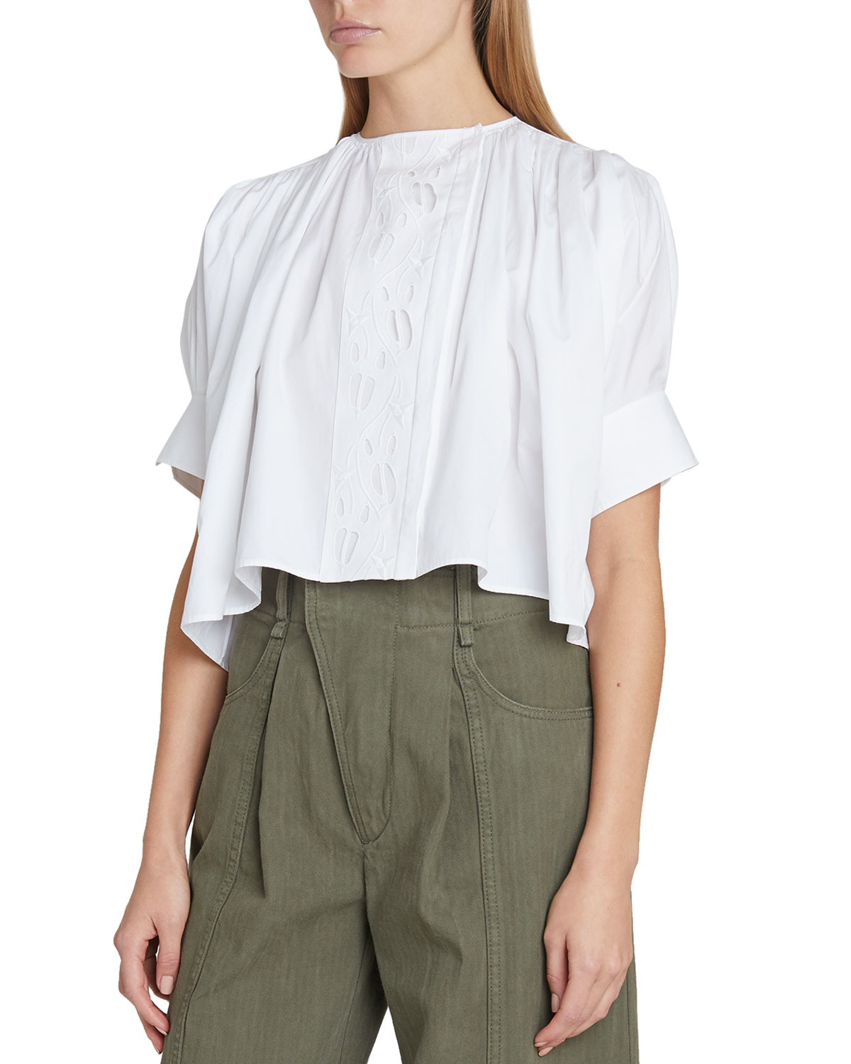 Chloé Cottons EYELET-PANELED COTTON CROPPED BLOUSE