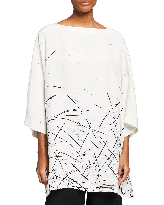 Printed Silk Tunic Top