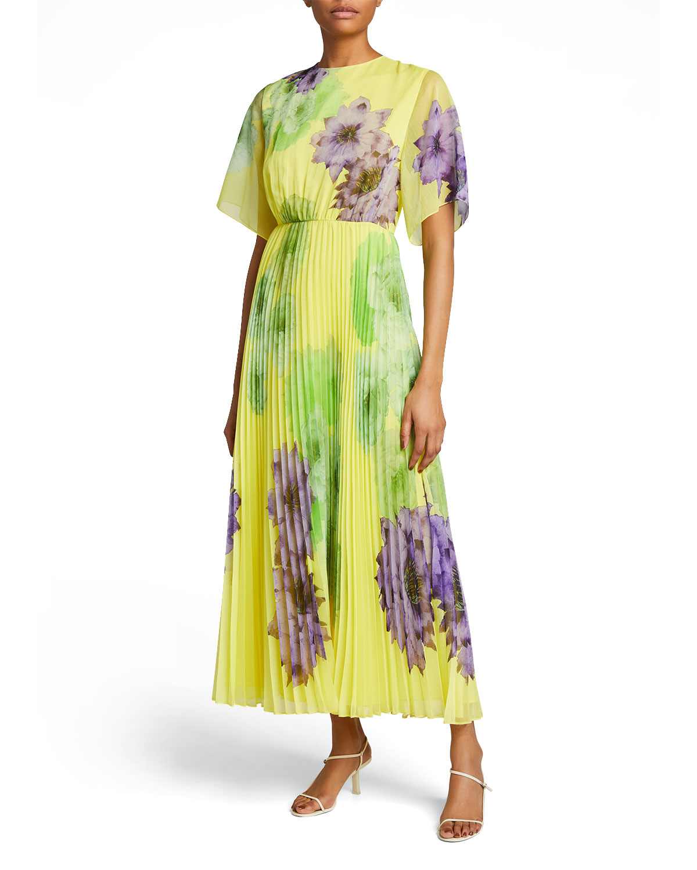 Floral-Print Pleated Midi Dress