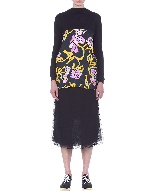 Frayed-Trim Midi Skirt