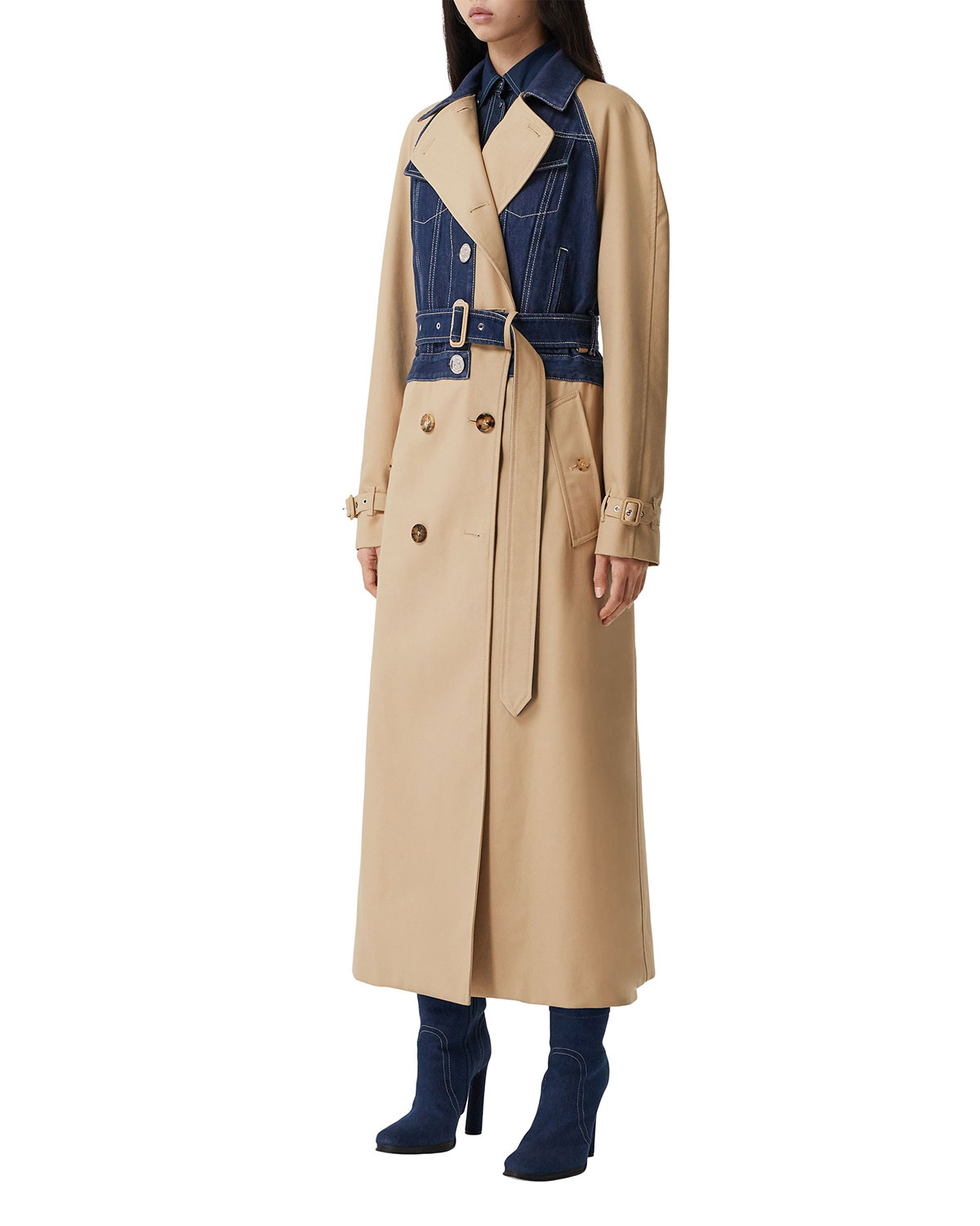Burberry MIXED-MEDIA BELTED DOUBLE-BREASTED TRENCH COAT
