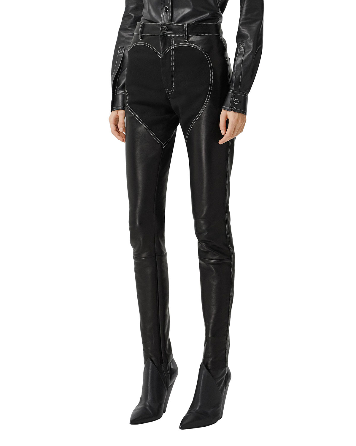Burberry Leathers LEATHER HEART MOTIF SKINNY PANTS