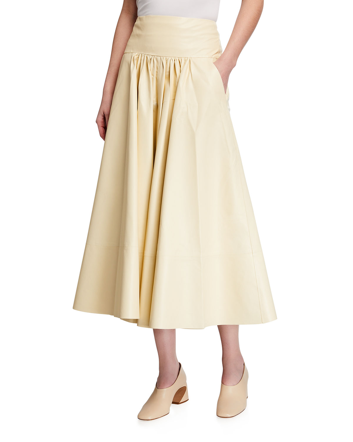 Co LEATHER FIT-&-FLARE MIDI SKIRT