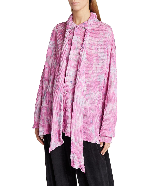 Balenciaga FLORAL-PRINT CREASED TIE-NECK BLOUSE