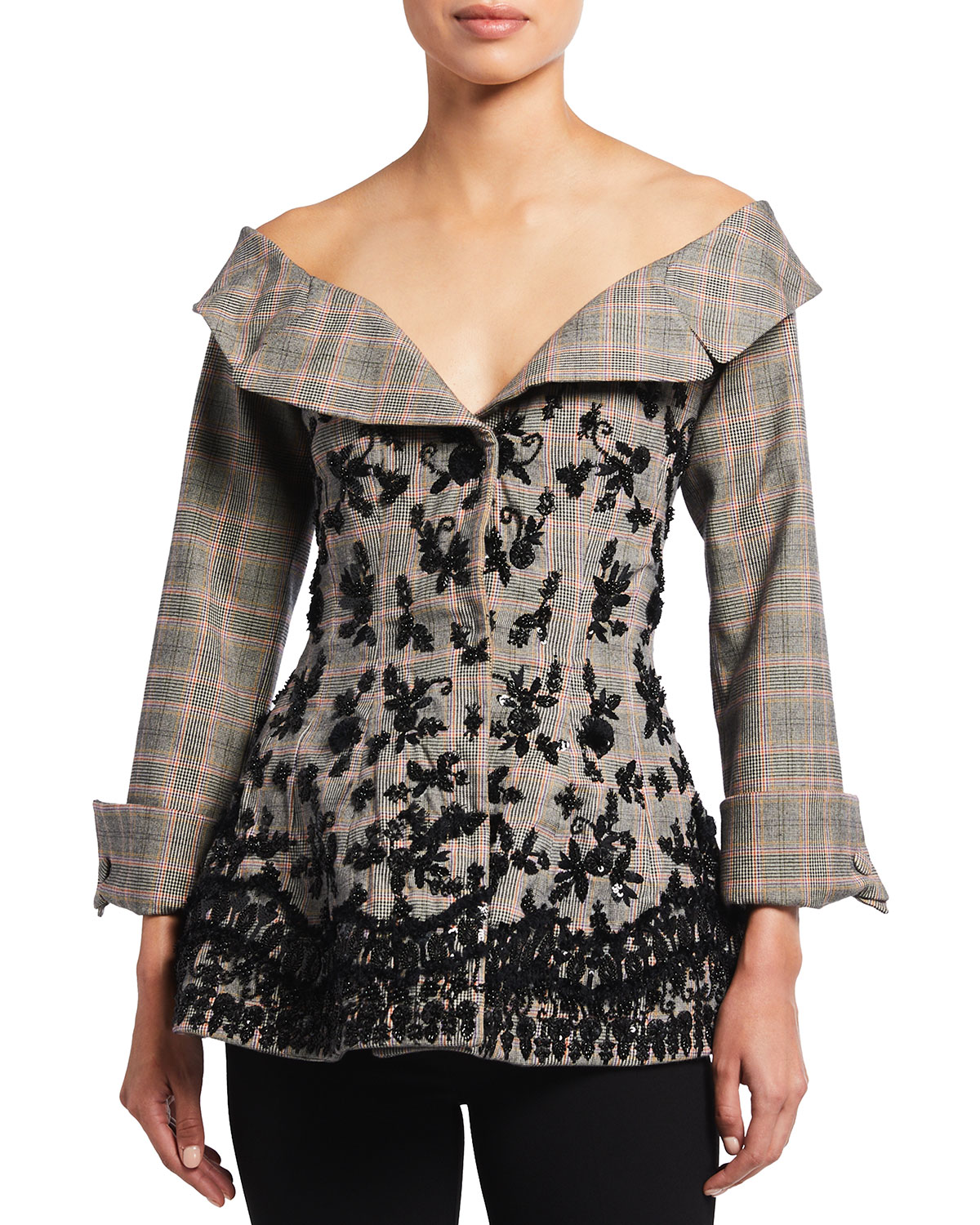 Brock Collection PLAID OFF-THE-SHOULDER EMBROIDERED PEPLUM JACKET