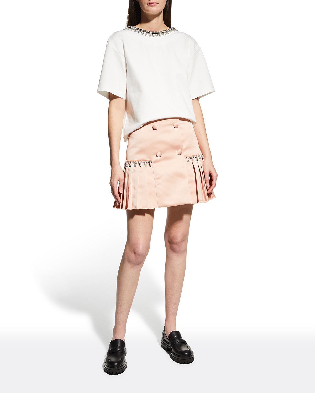 Pleated Satin Mini Skirt w/ Crystal Trim