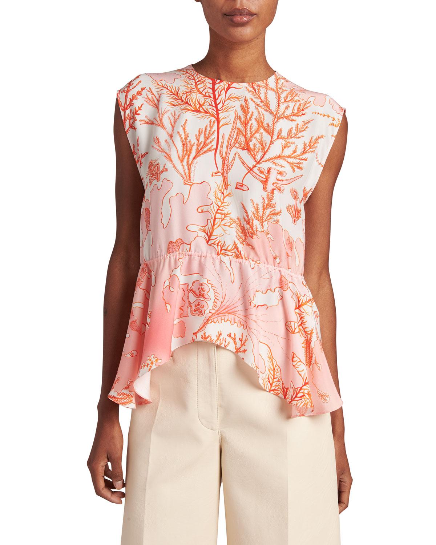 Stella Mccartney Clothing CORAL-PRINT PEPLUM SILK TOP