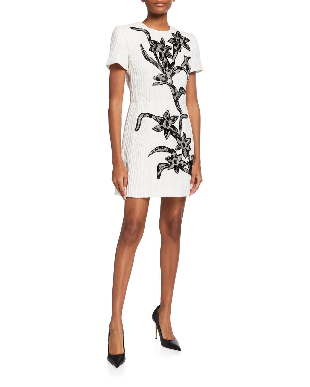 Pleated Silk Mini Dress w/ Floral Beading