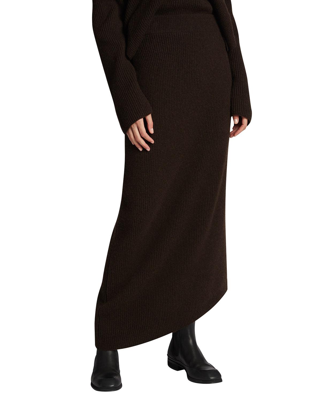 Cymone Asymmetric Cashmere Maxi Skirt