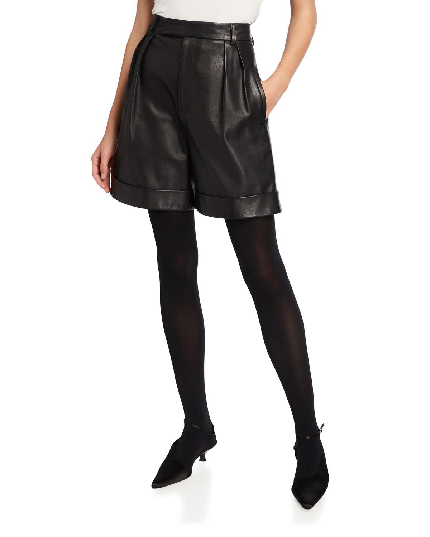 Theresa Leather Bermuda Shorts