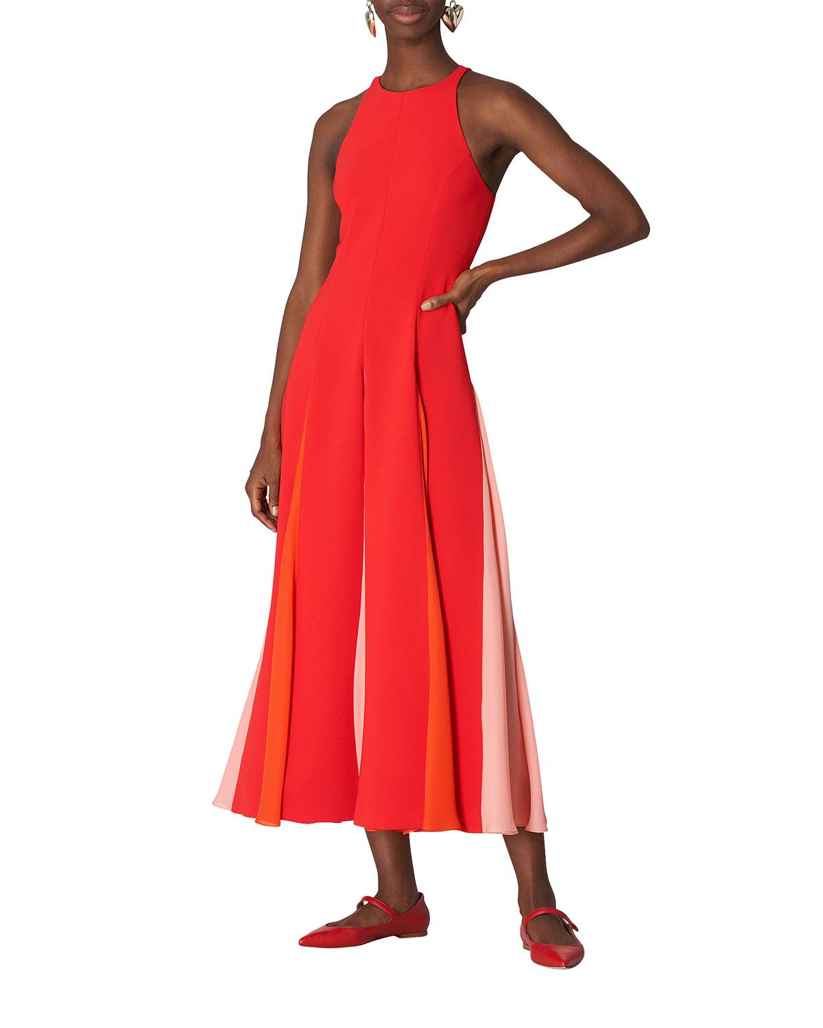 Colorblock Godet Dress