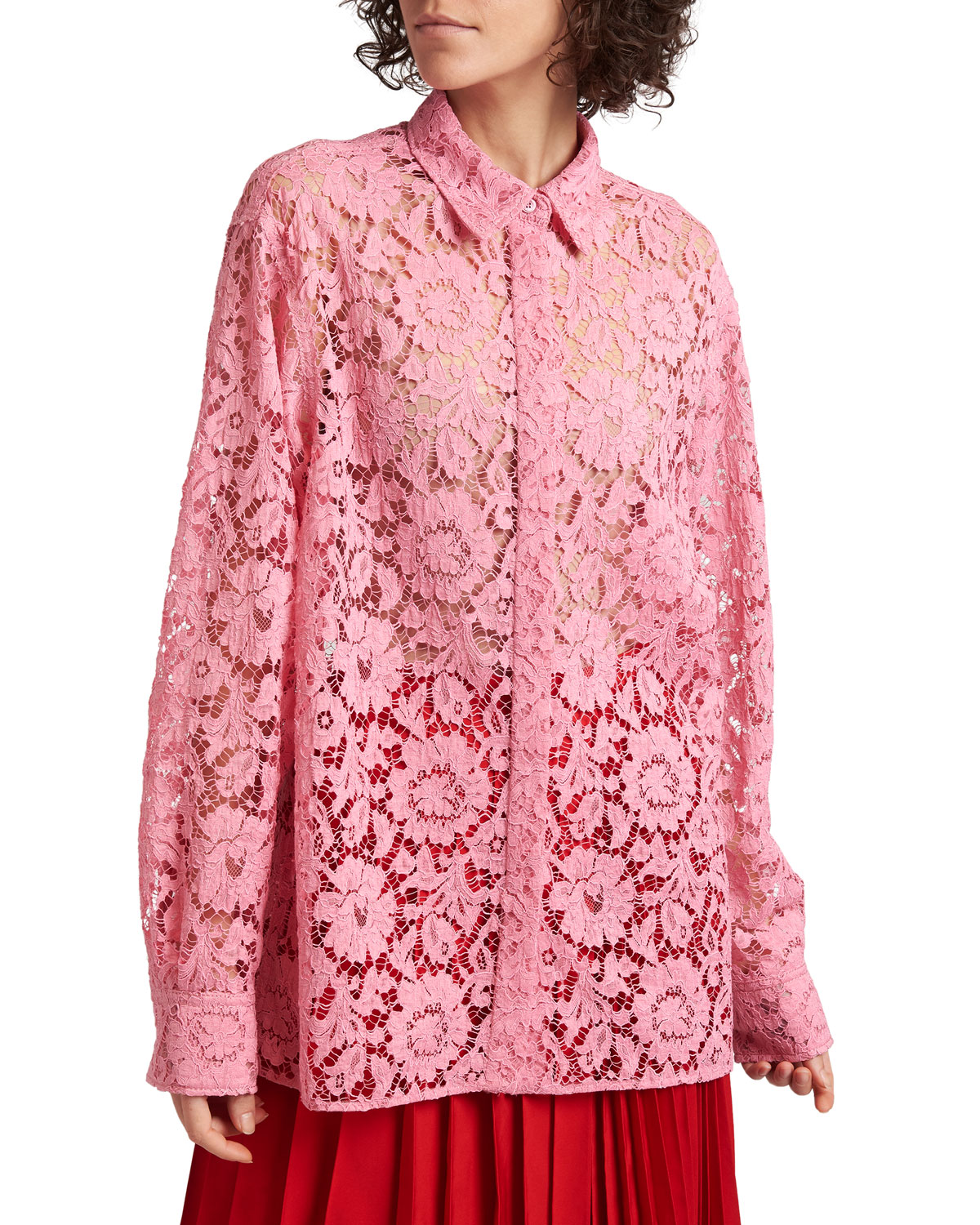 Sheer Floral-Lace Collared Blouse