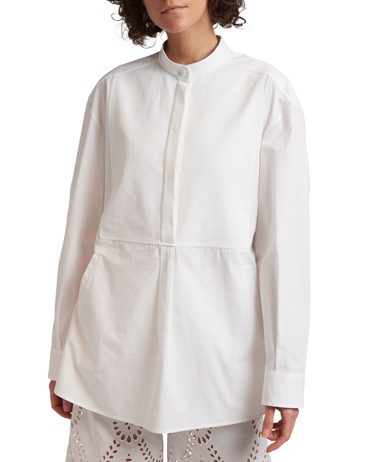 Poplin Cinched-Back Tunic Blouse