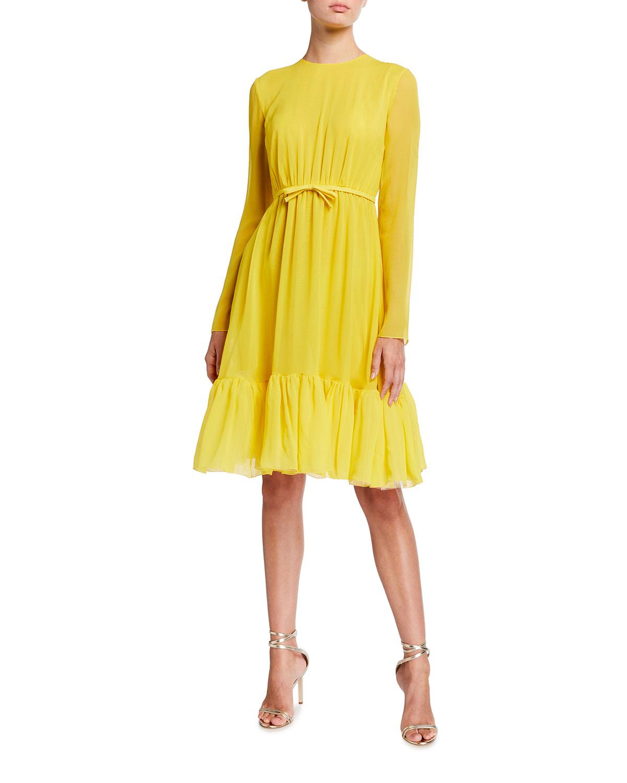 Pleated Ruffle-Hem Silk Dress