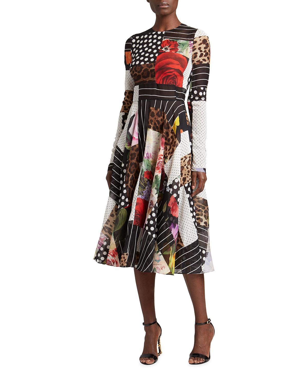 Dolce & Gabbana Downs PATCHWORK-PRINT FIT-&-FLARE MIDI DRESS