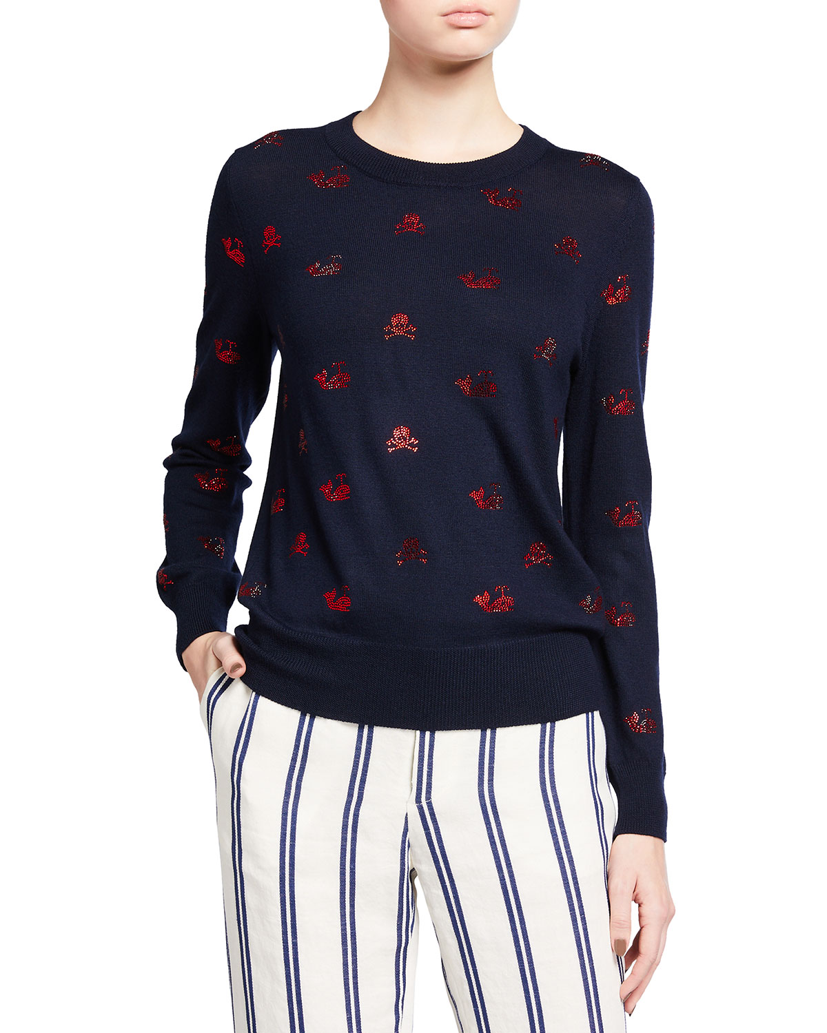 Embellished Skull & Whales Cashmere-Silk Sweater