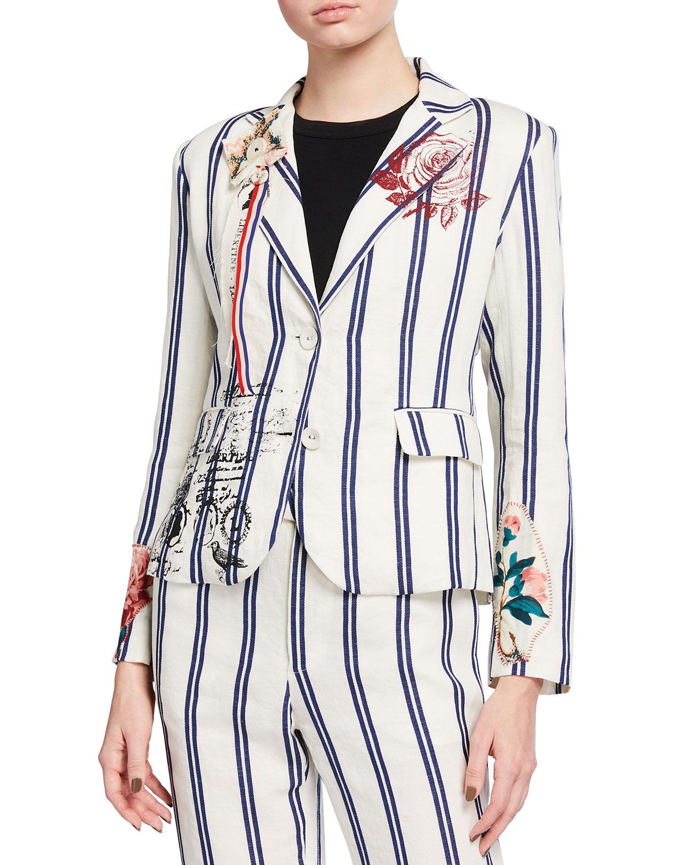 Logo-Print Striped Linen-Cotton Blazer