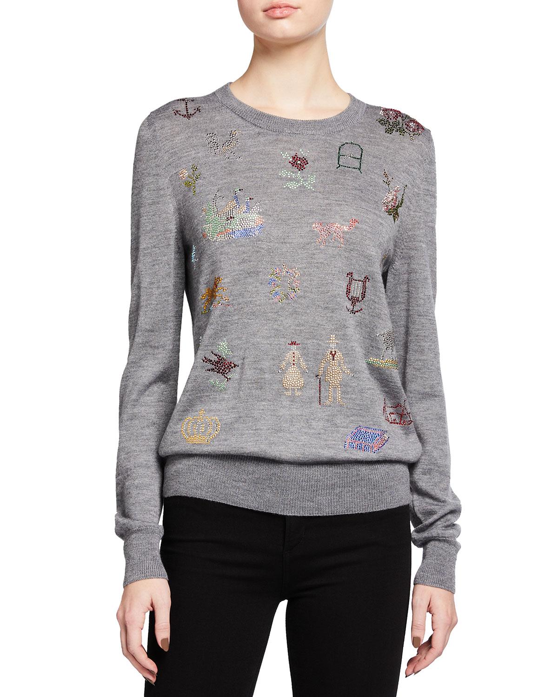19th Century Sampler Cashmere-Silk Sweater