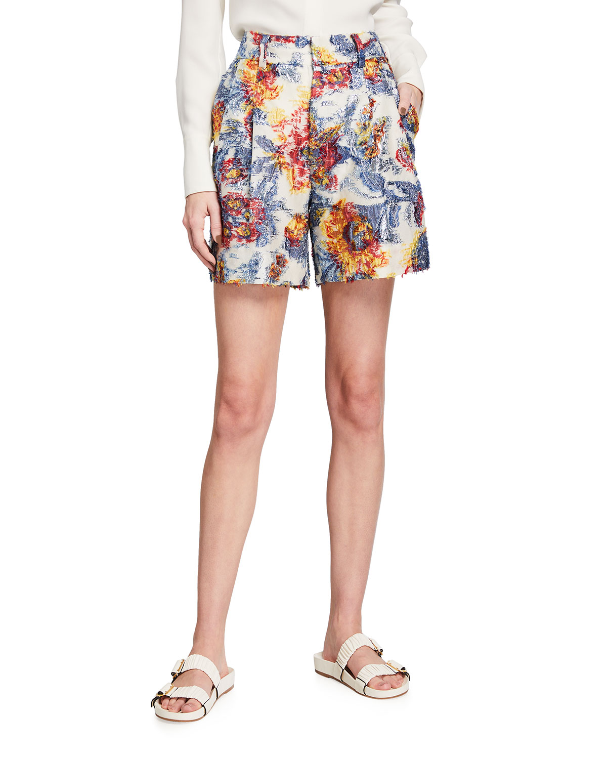 Painted Floral-Print Pleated Shorts