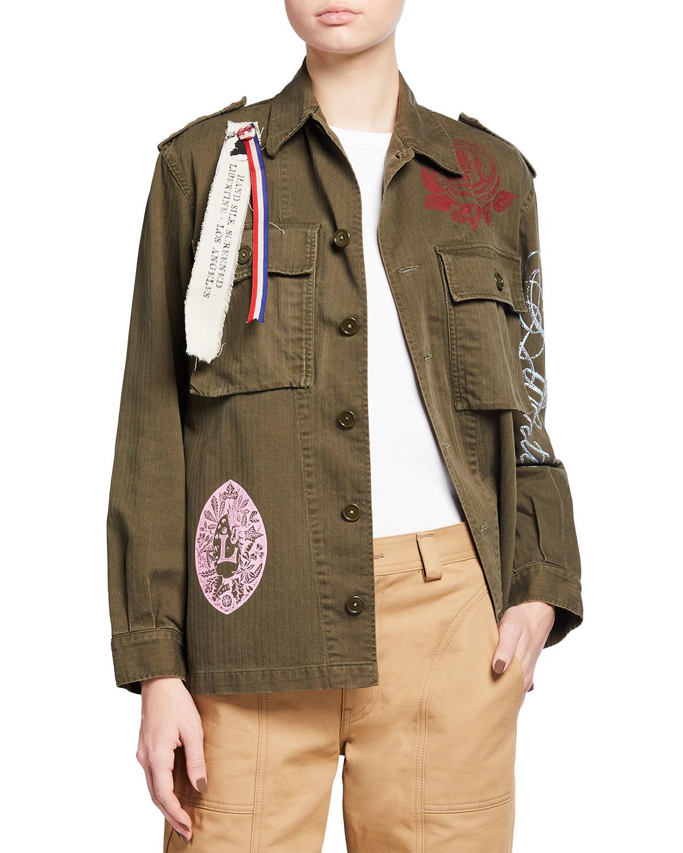 Logo-Print Cotton Military Jacket