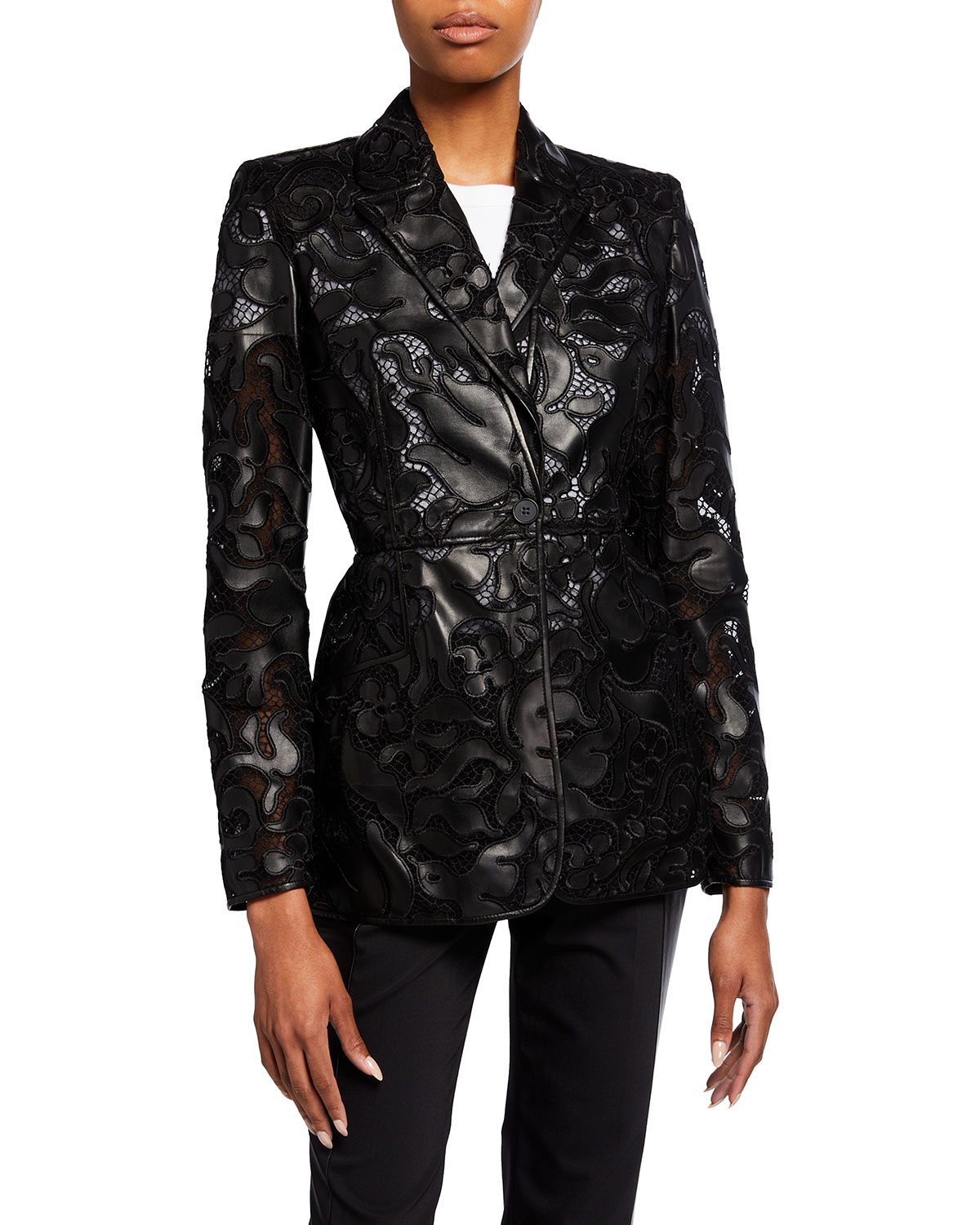 Alexander Mcqueen LEATHER SHEER-LACE JACKET