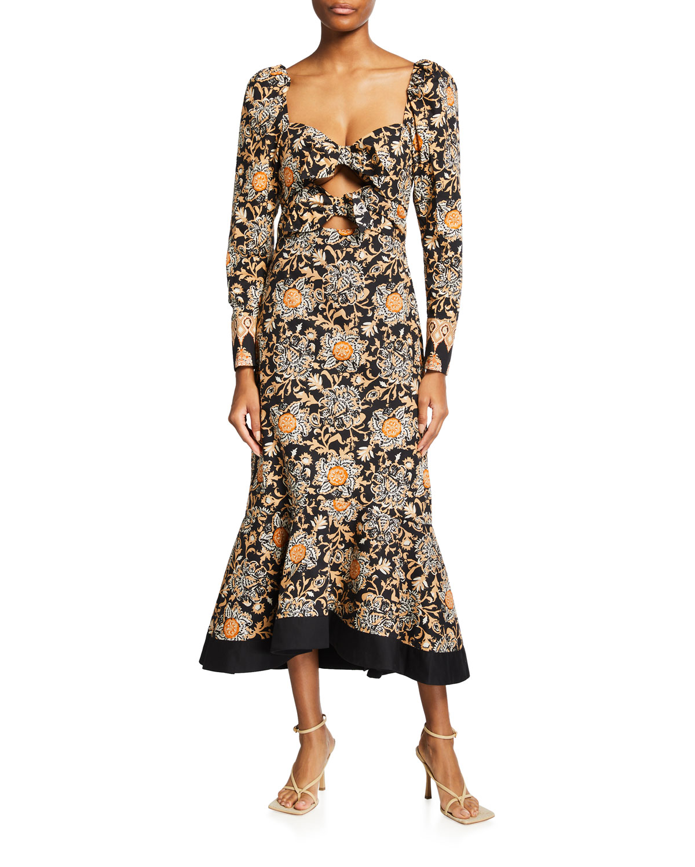 Charted Dreams Cutout Cotton Dress