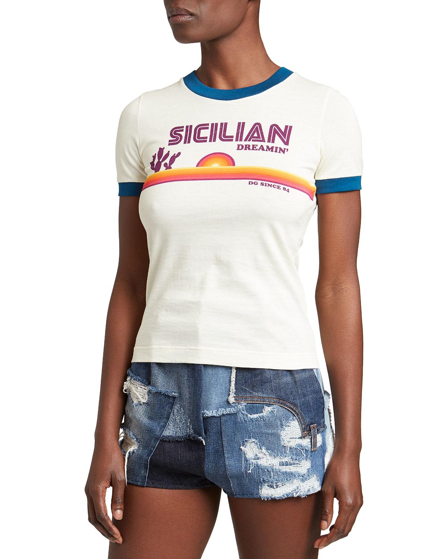 Dolce & Gabbana T-shirts SICILIAN DREAMIN JERSEY T-SHIRT