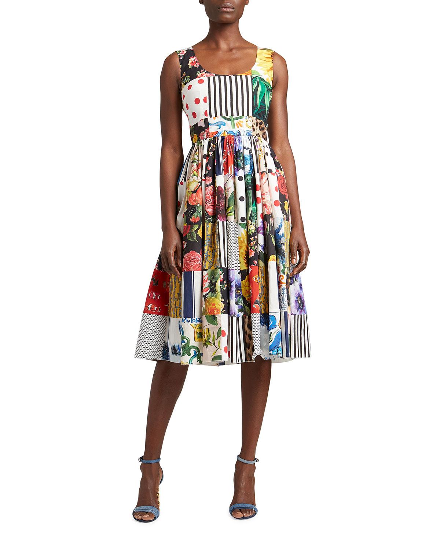 Dolce & Gabbana Dresses PATCHWORK POPLIN MIDI DRESS