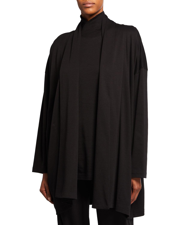 Shawl-Collar Long Pima Cotton Cardigan