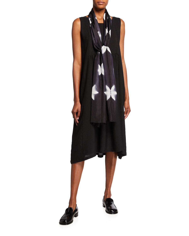 Silk Seersucker Midi Dress