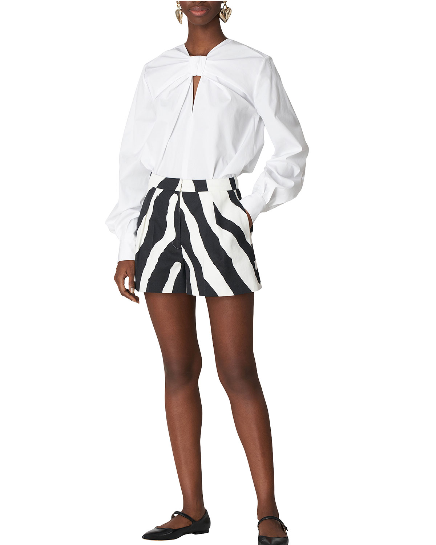 Zebra-Print Wide-Leg Shorts