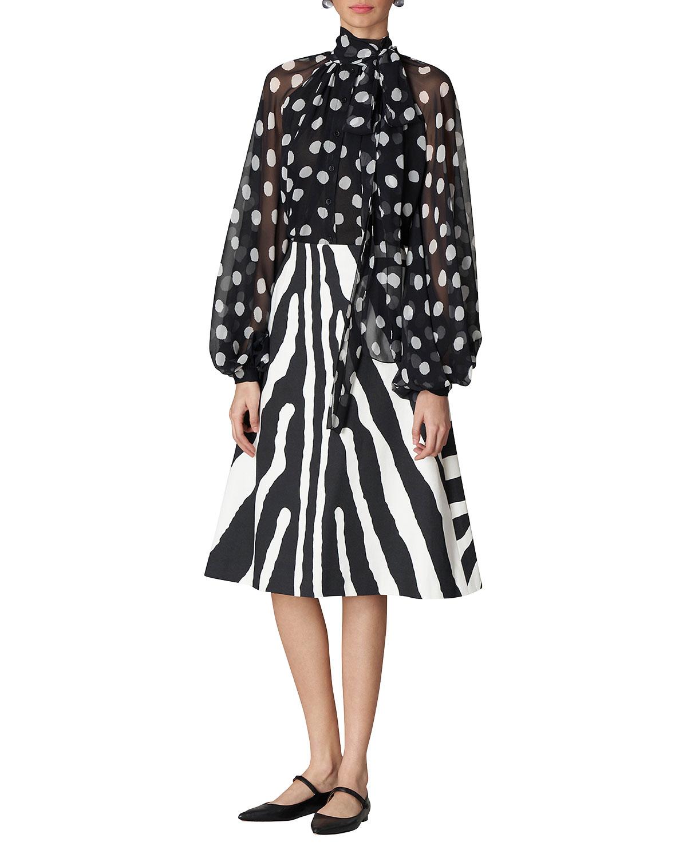 Zebra-Print Midi Skirt