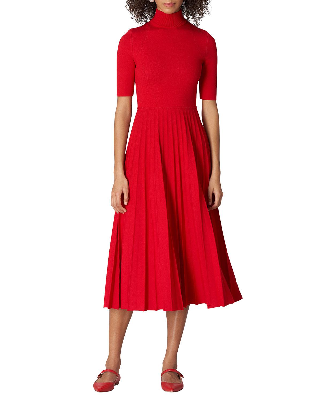High-Neck Pleated Fit-&-Flare Midi Dress