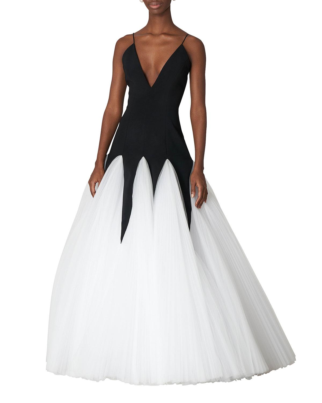 Bicolor V-Neck Godet Gown