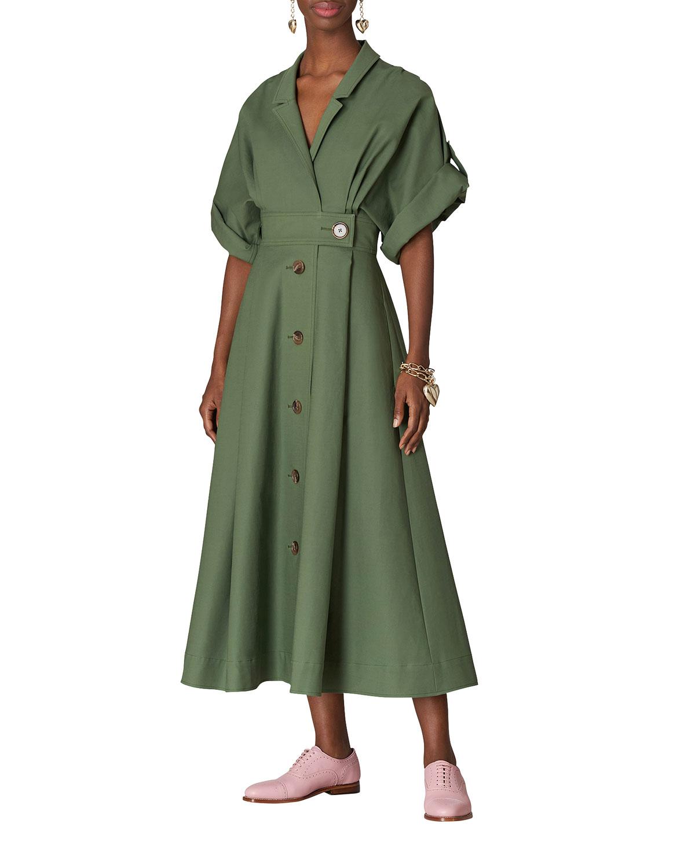 Wrap-Front Midi A-Line Shirtdress