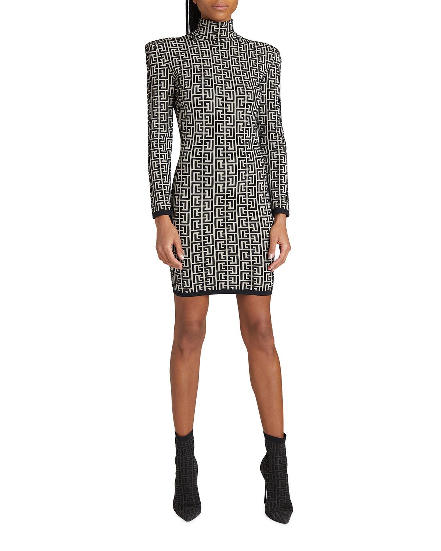 Jacquard Monogram High-Neck Mini Dress