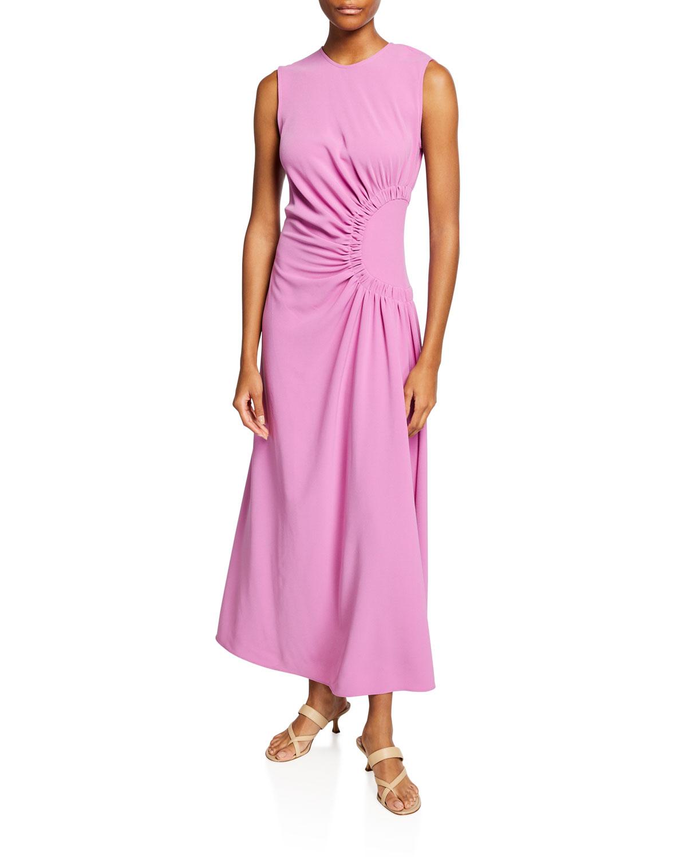 Asymmetrical Ruched Midi Dress