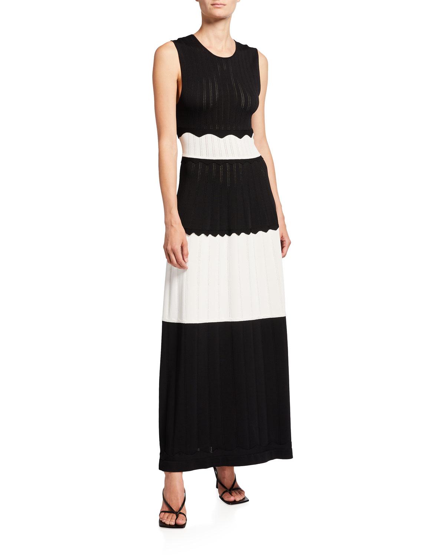 Scallop-Trim Knit Midi Dress